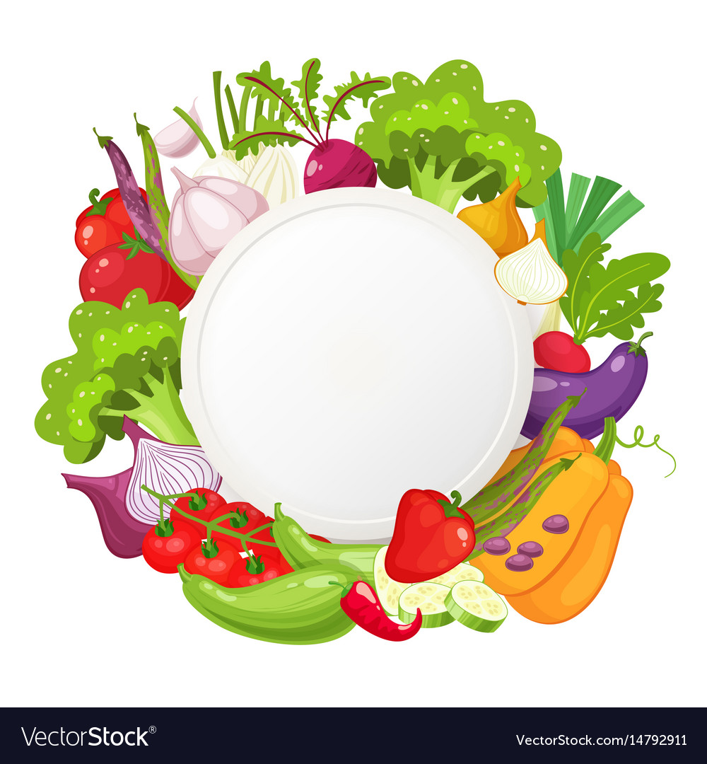 Healthy vegetables and vegetarian food round vector image