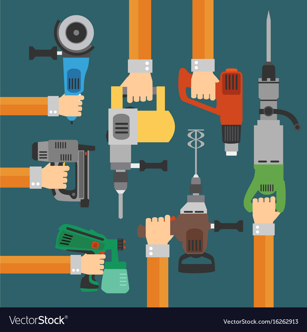Builders tools flat modern background with hand vector image
