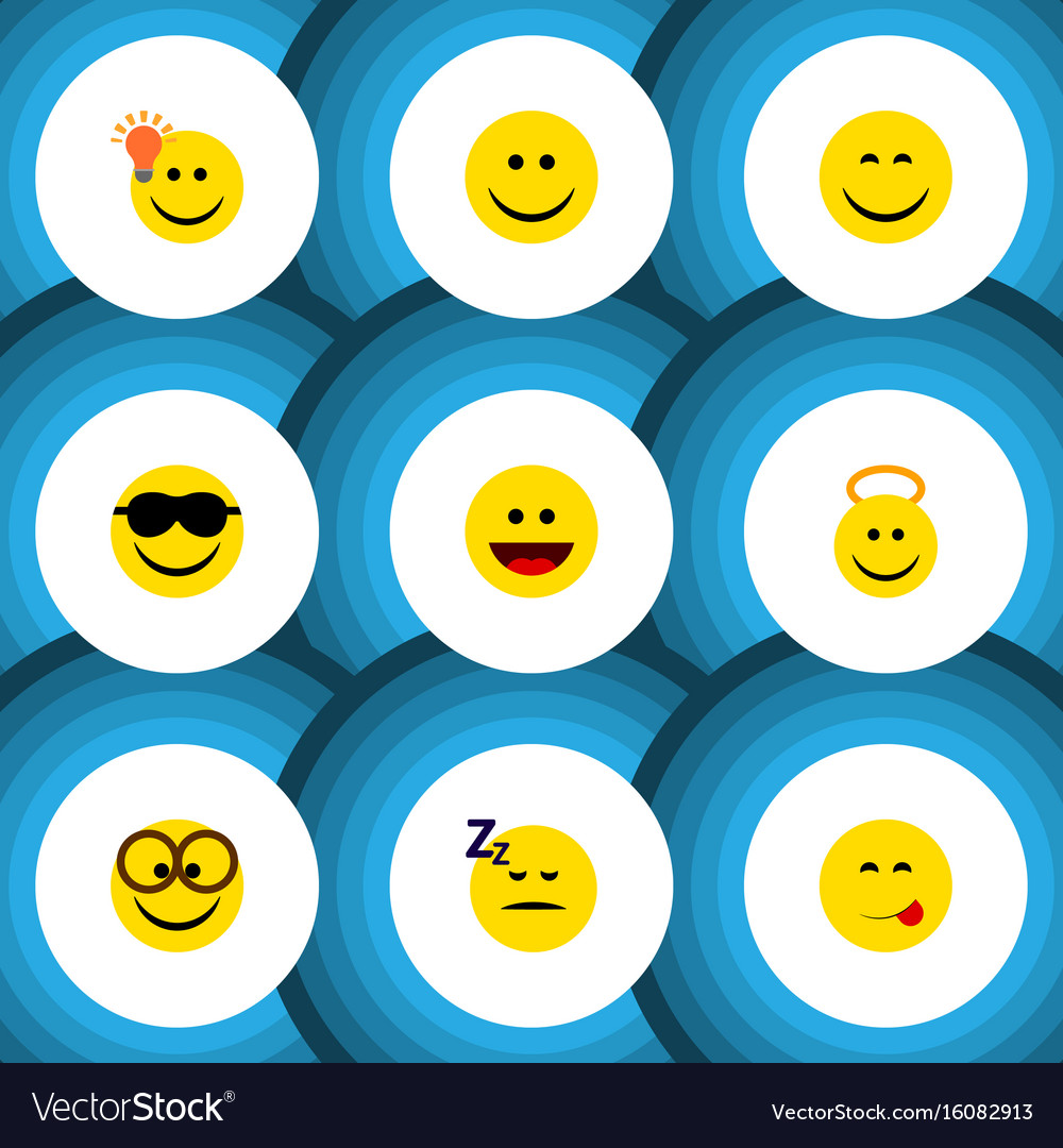 Flat icon face set of pleasant smile laugh and vector image