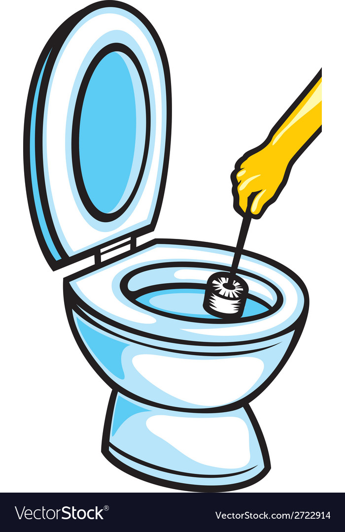 Cleaning A Toilet Bowl With Brush Royalty Free Vector