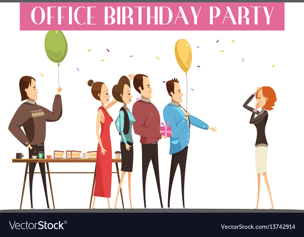 Birthday party in office vector image