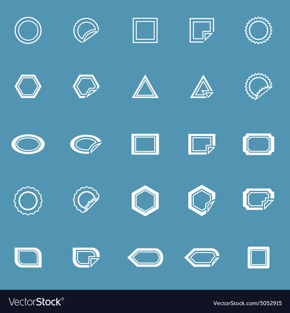 Label line icons on blue background vector image