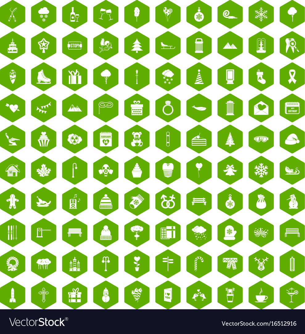 100 winter holidays icons hexagon green vector image