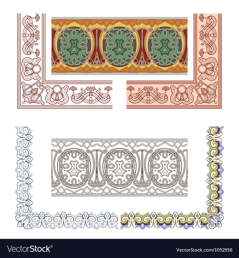 Art Nouveau seamless borders vector image