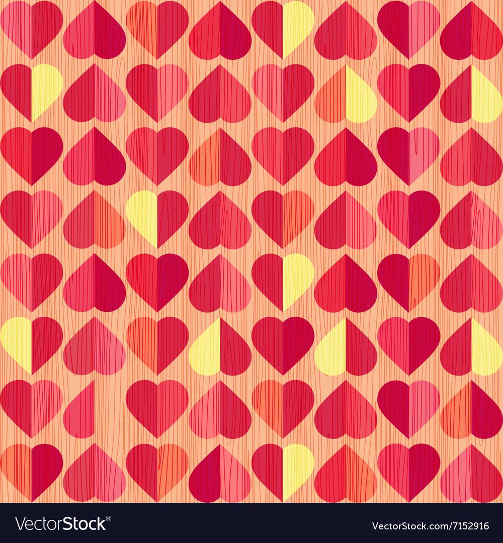 Retro heart seamless pattern vector image