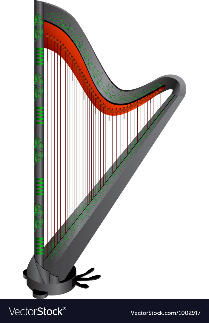 Fantasy gothic harp vector image