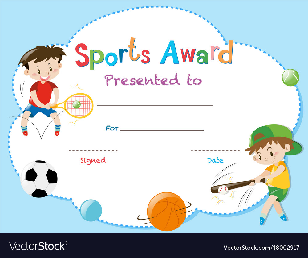 Certificate template with two boys playing sports vector image yadclub Image collections