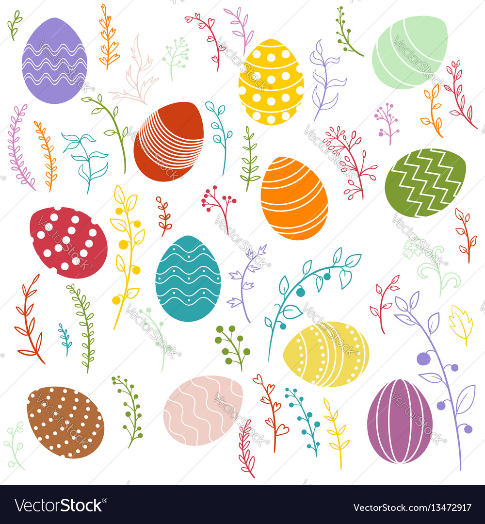 Easter eggs and floral elements vector image