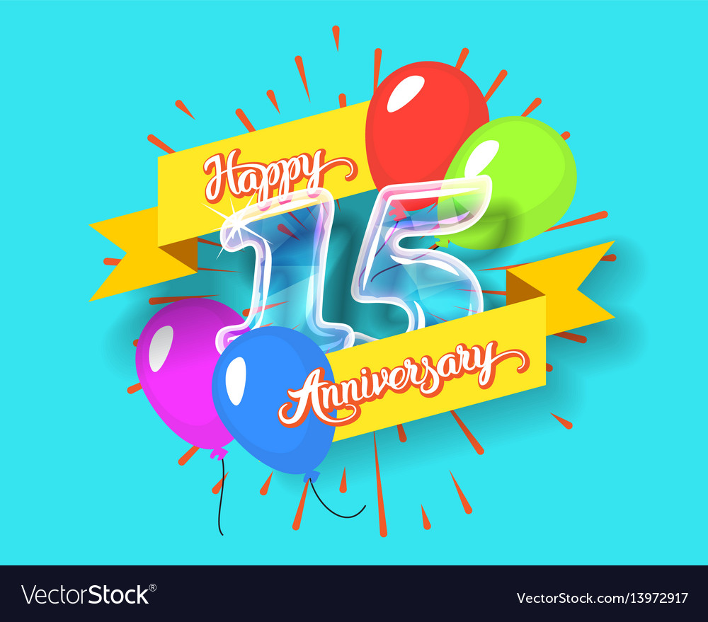 Happy 15th anniversary glass bulb numbers set vector image