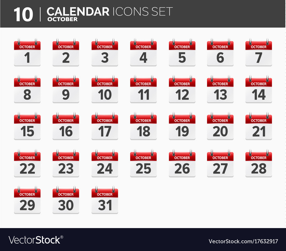 October calendar icons set date and time 2018 vector image