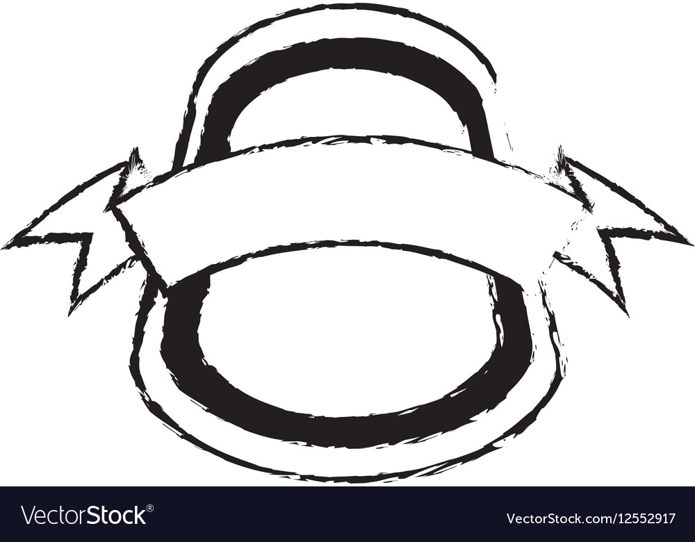 Shield insignia with ribbon sketch vector image