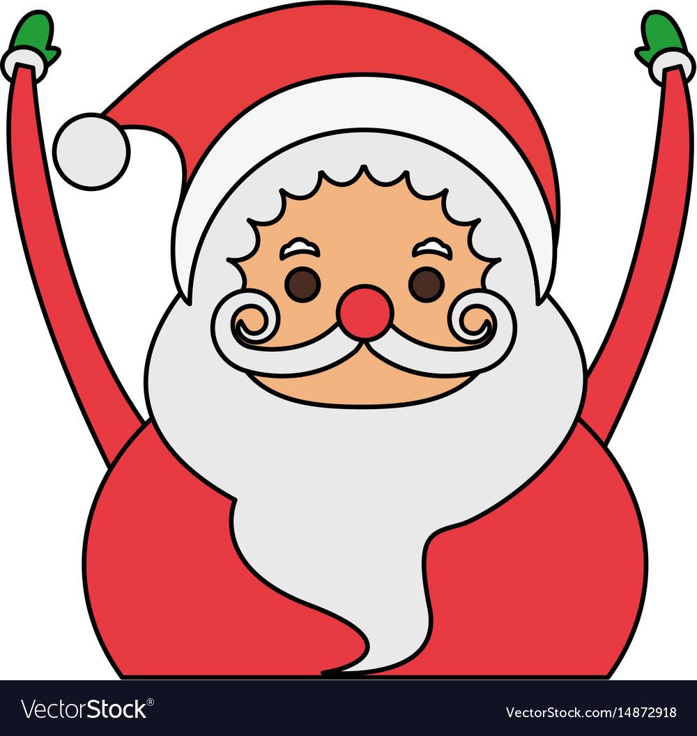 color image cartoon half body fat santa claus with vector image - Pictures Of Santa Claus To Color