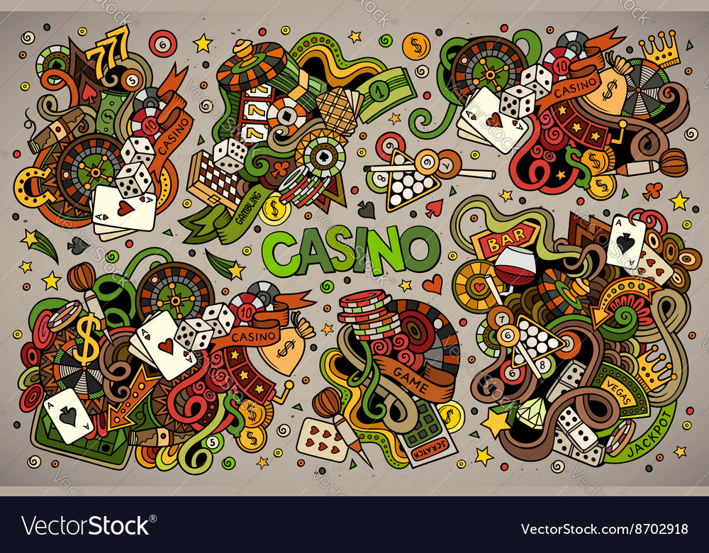 Colorful hand drawn doodles cartoon set of vector image
