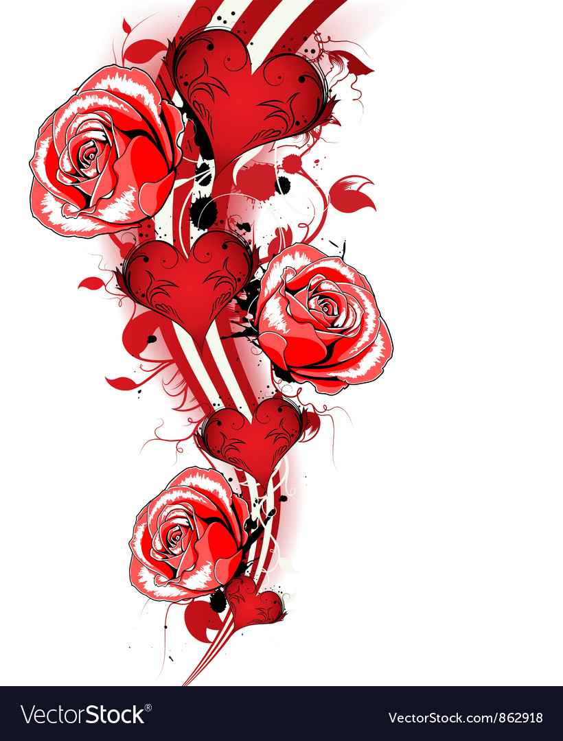 Valentines background with roses vector image