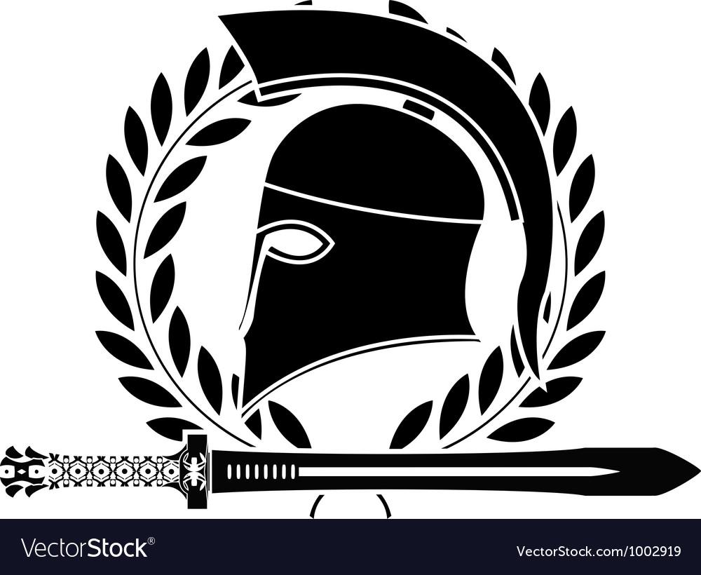 Fantasy hellenic sword and helmet Vector Image
