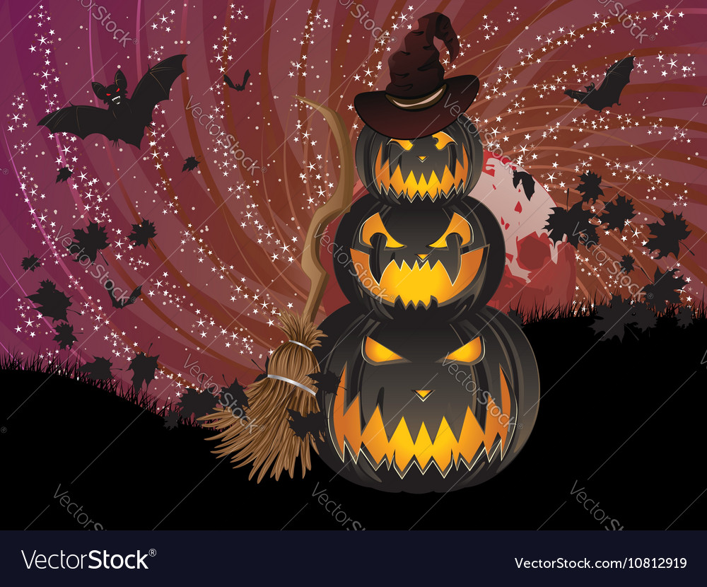 Pumpkins and Red Moon5 vector image