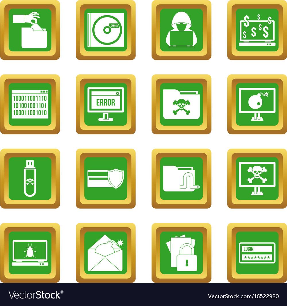Criminal activity icons set green vector image