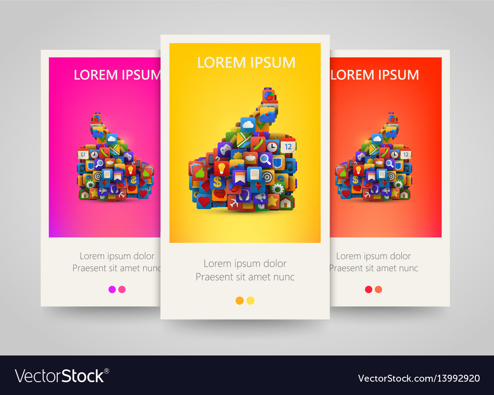 Thumb silhouette with many application icons vector image