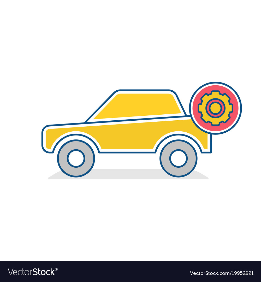 Auto icon car settings sign vector image