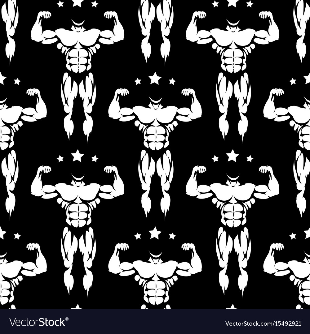 Male athletic body silhouettes seamless pattern vector image