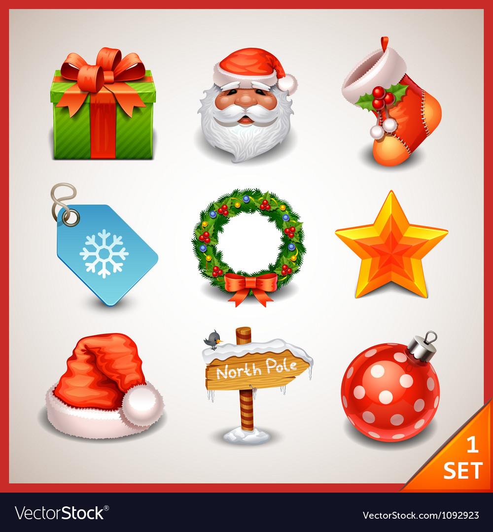 Christmas icon set-1 vector image