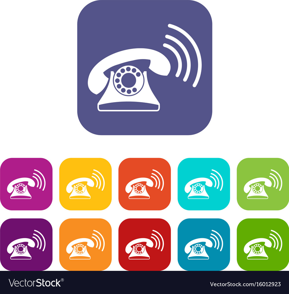 Retro phone icons set vector image