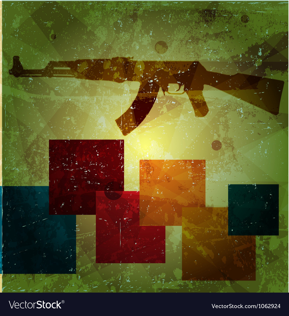 Grunge AK 47 on wall vector image