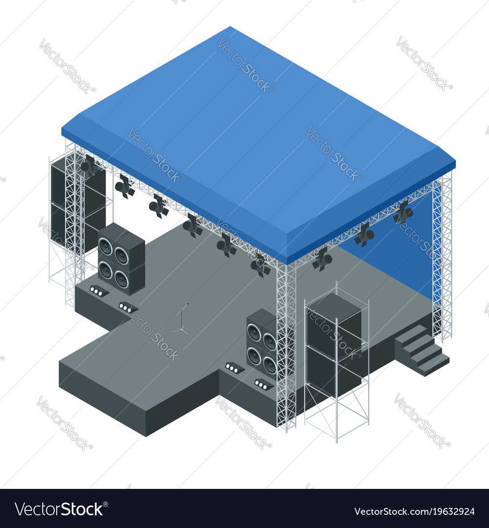 Isometric outdoor concert stage truss system vector image