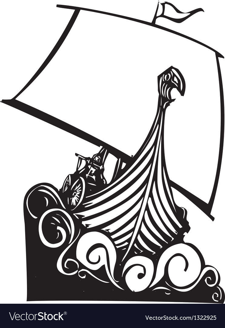 Viking Longship Sailing B Royalty Free Vector Image
