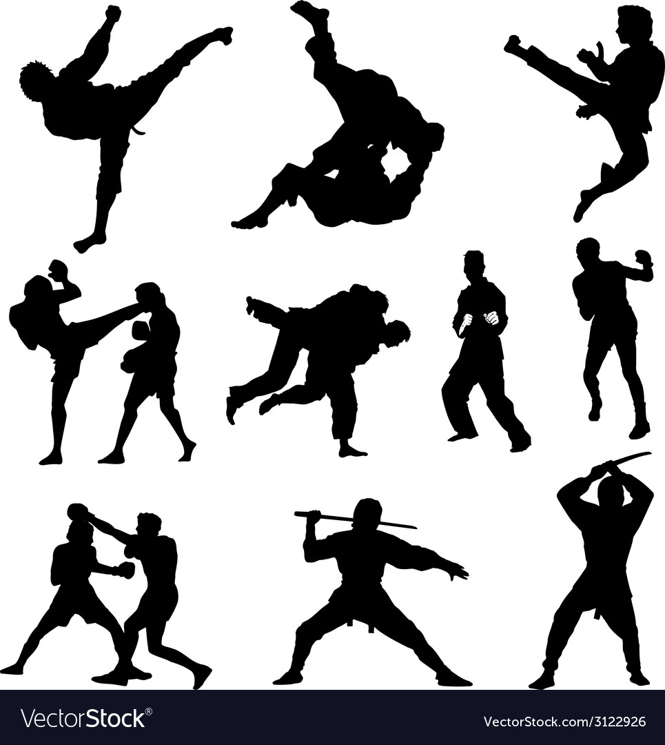 Combat sports silhouettes vector image
