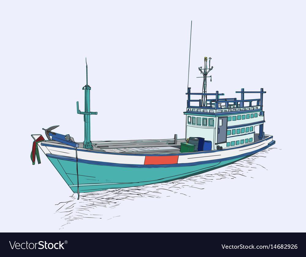Drawing of fishing trawler at the sea sketch vector image