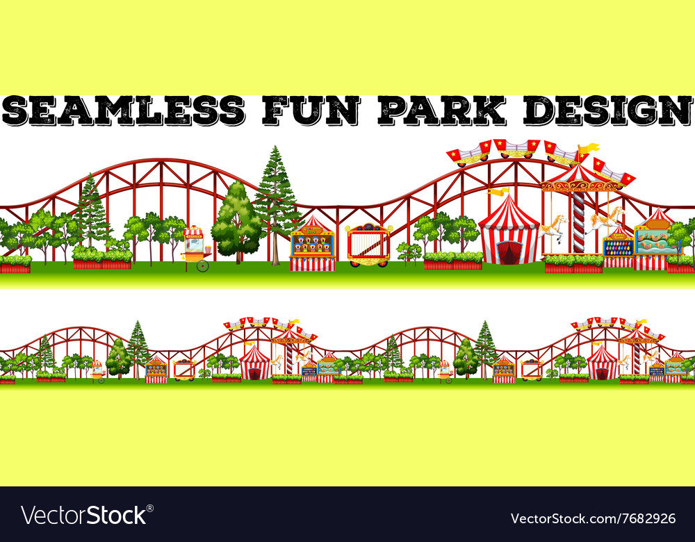 Seamless fun park design with many rides vector image