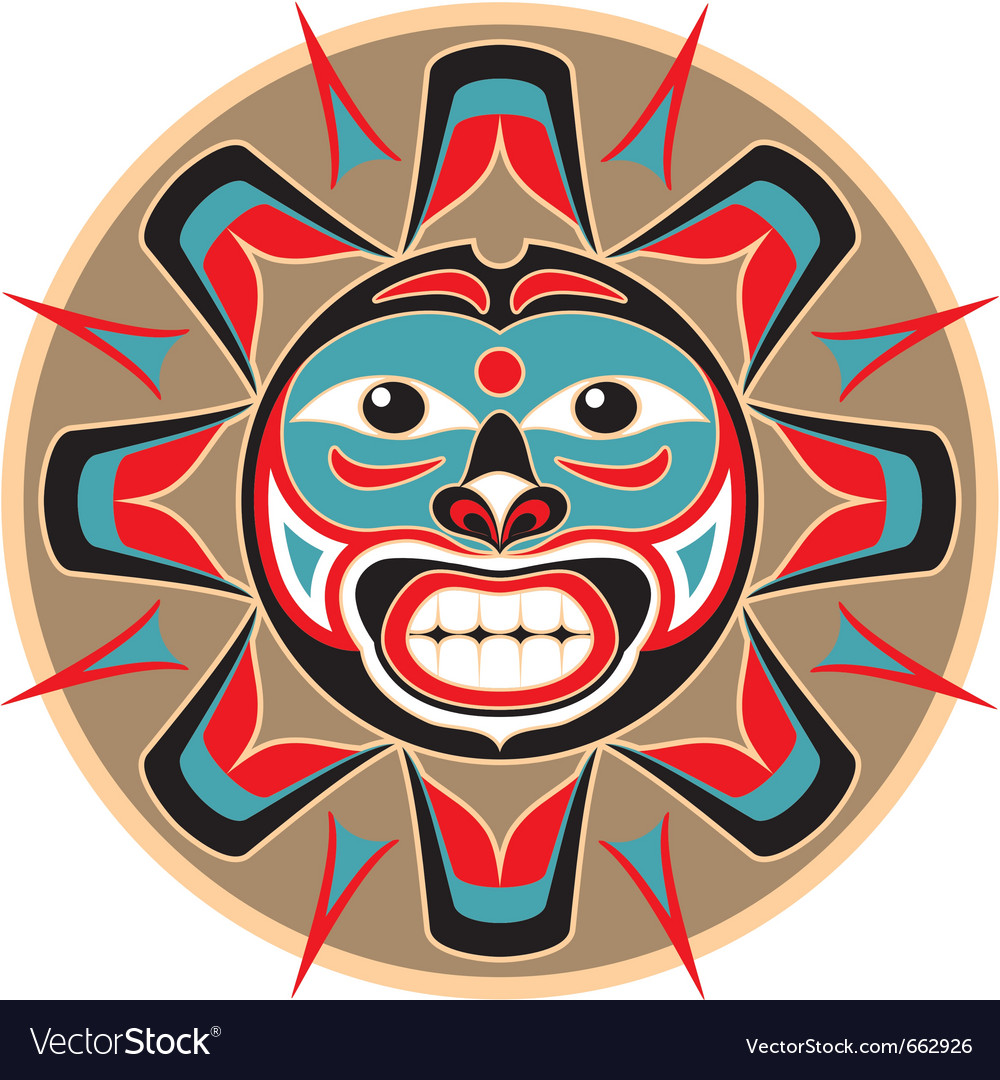 Sun in native american style vector image