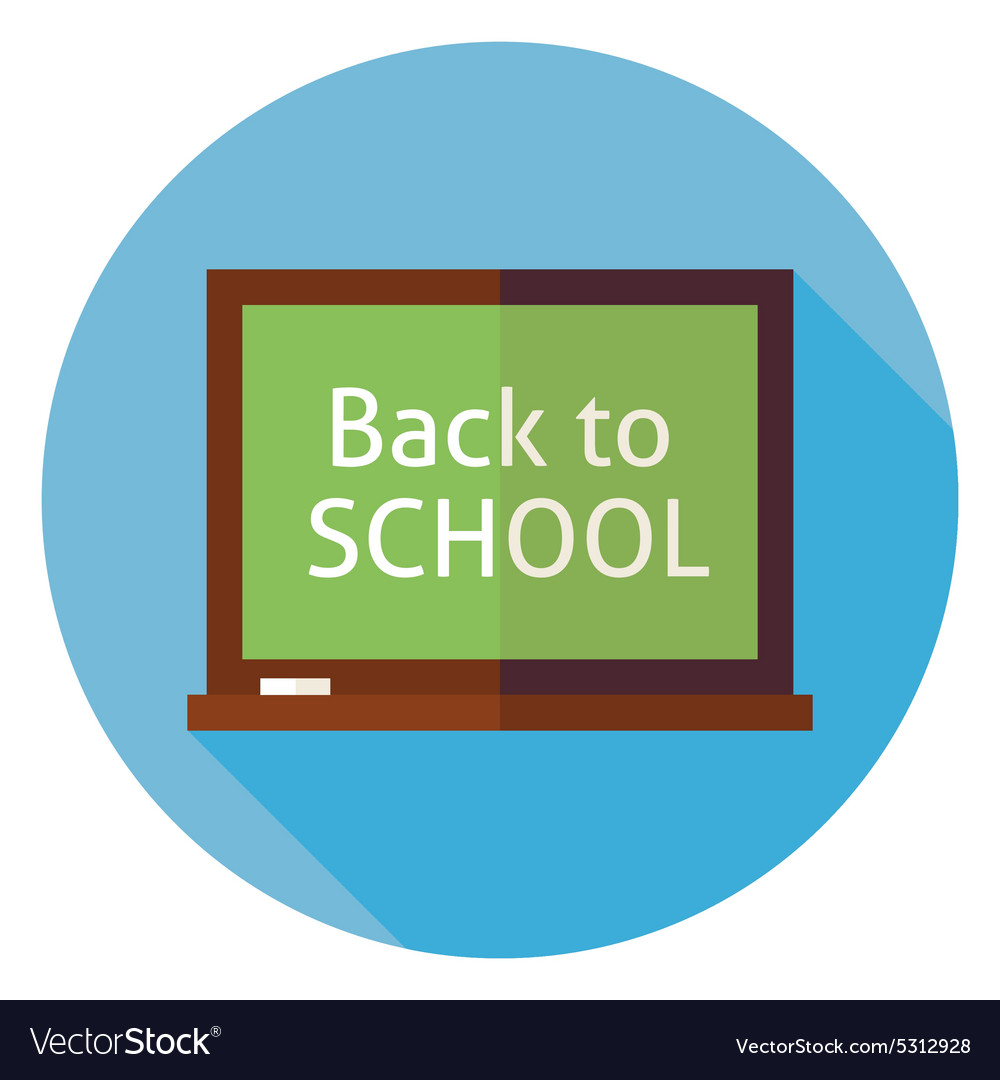 Flat Education Back to School Chalkboard Circle vector image