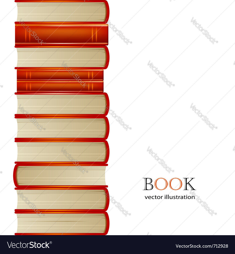 Heap of orange books isolated on white background vector image
