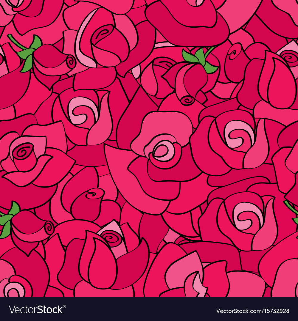 Seamless pattern with line roses hand vector image