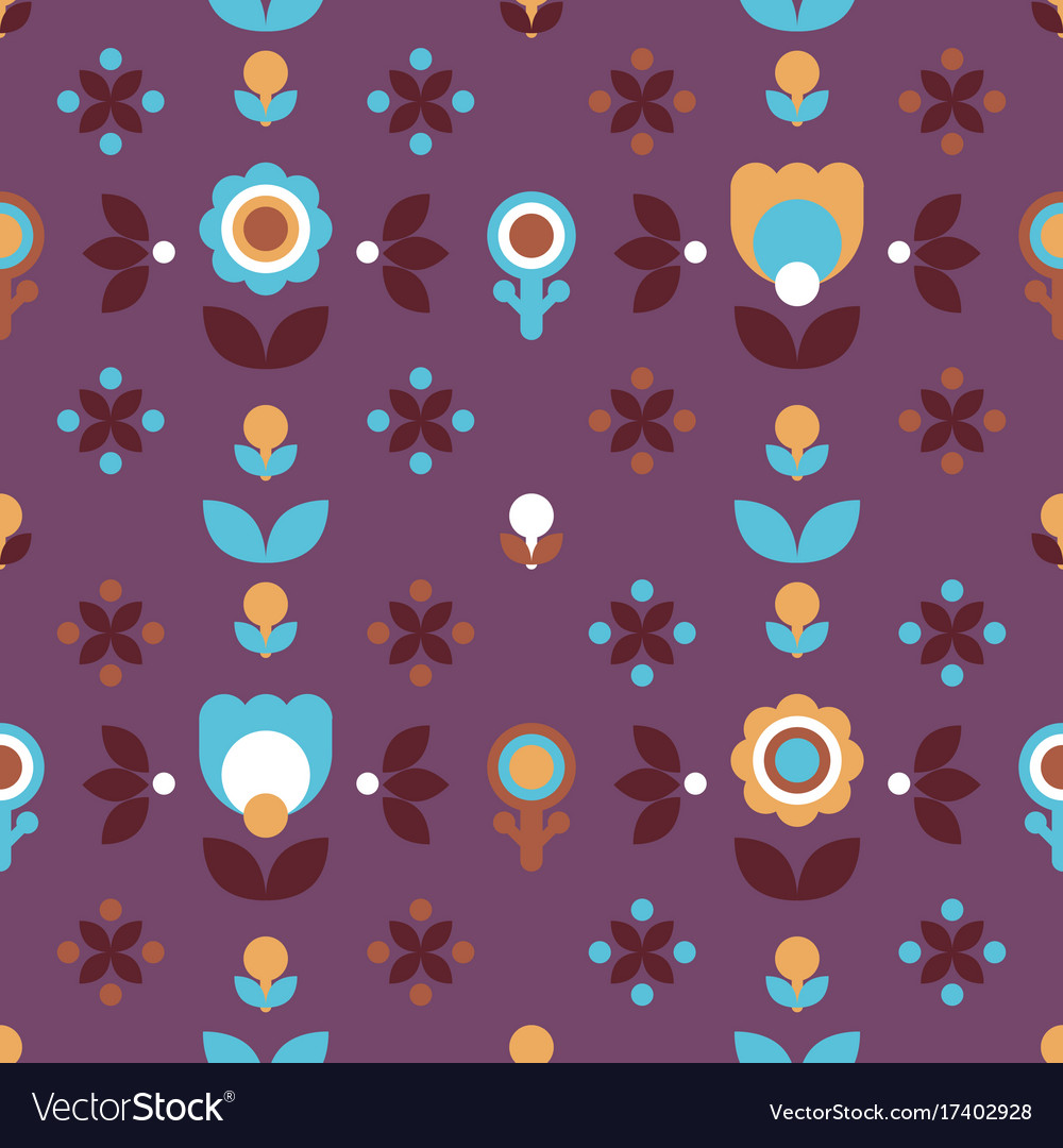 Simple folk floral seamless pattern vector image