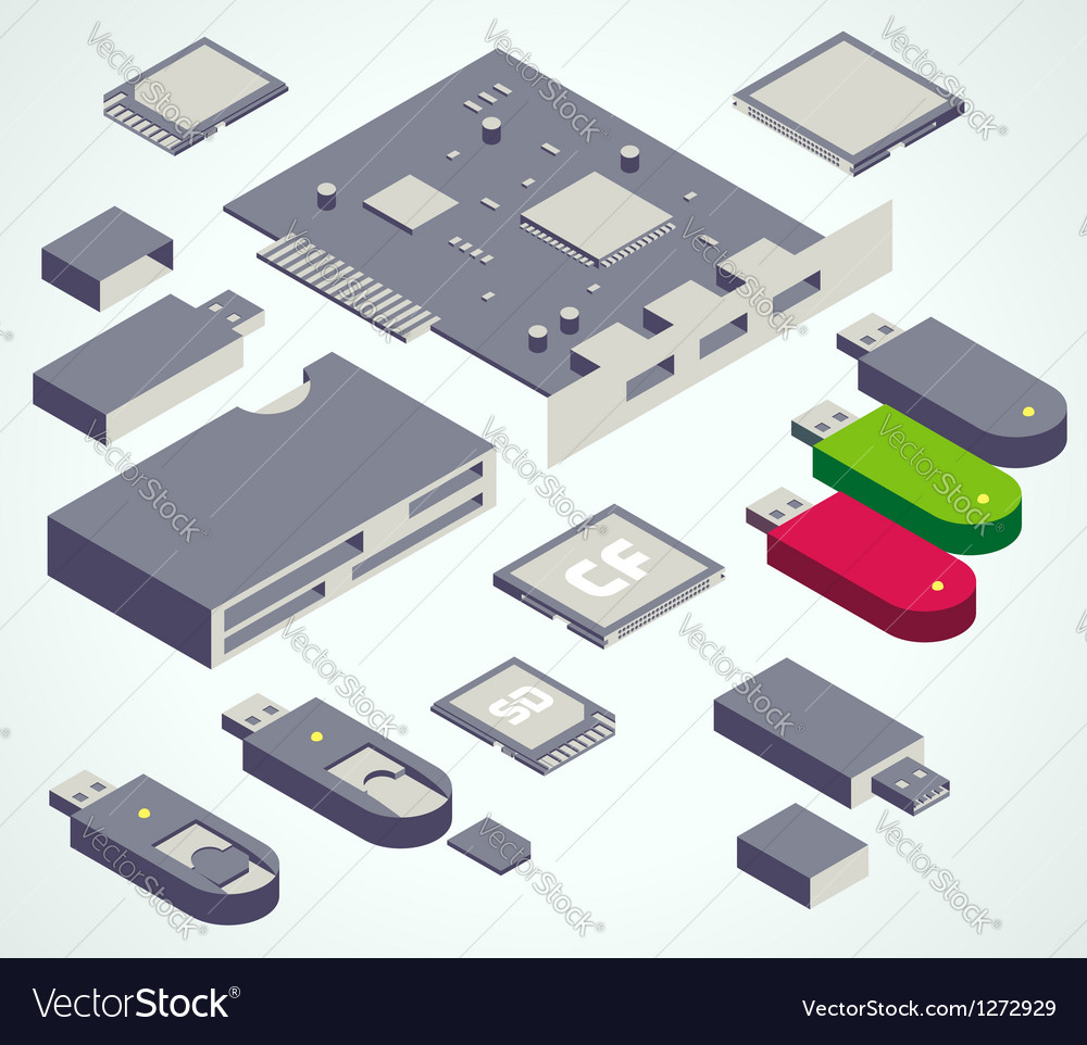 Usb element memory card set vector image