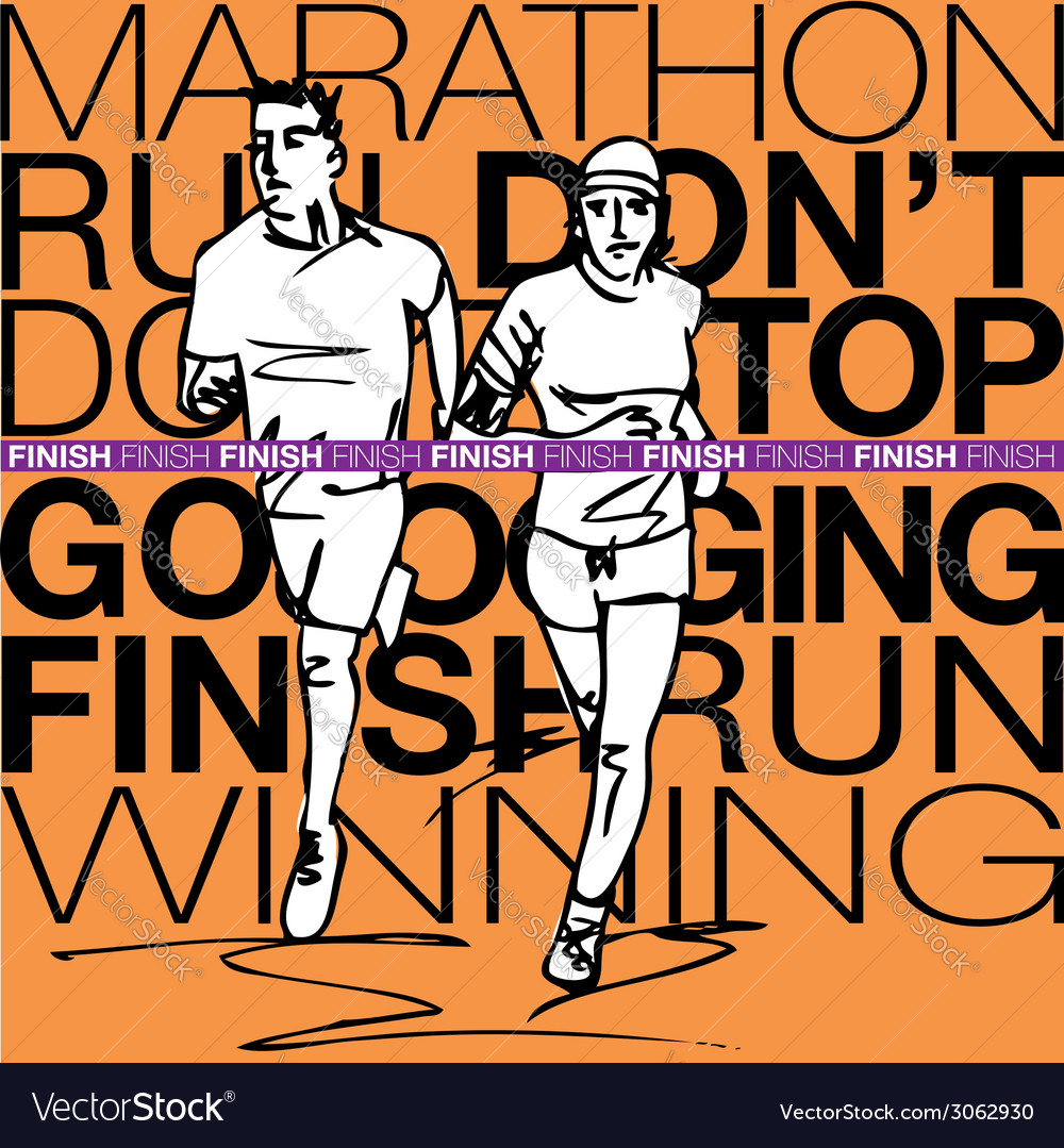 Female and male runner sketch vector image