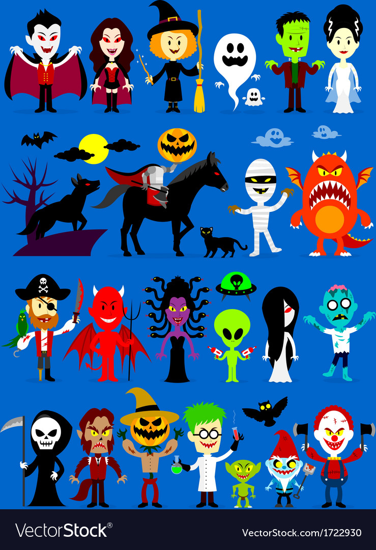 Monsters Mash Halloween Characters vector image