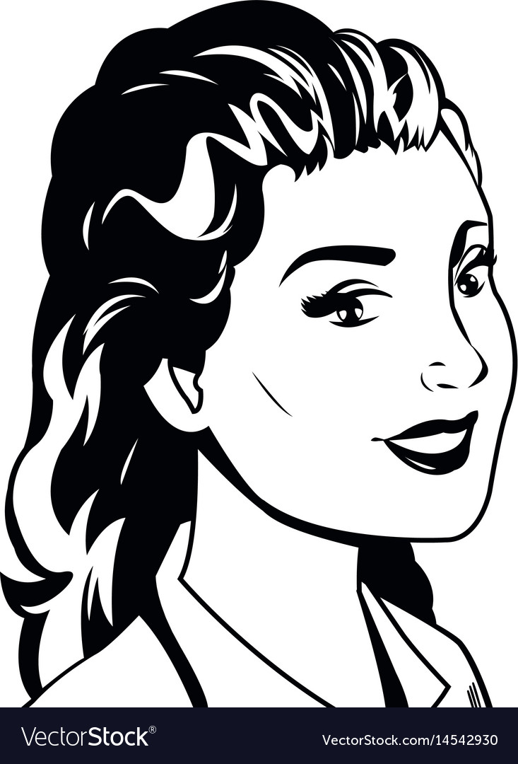 Portrait woman pop art black and vector image