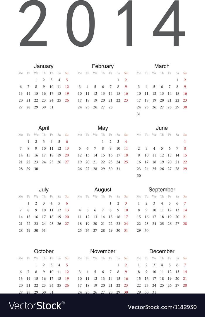 Simple calendar 2014 vector image