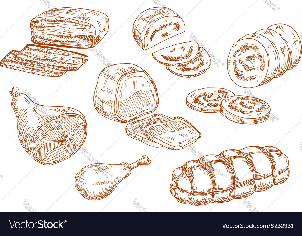 Fresh meat products sketches set vector image