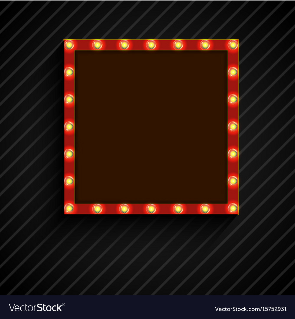 Retro billboard with lamps for space text black ba vector image