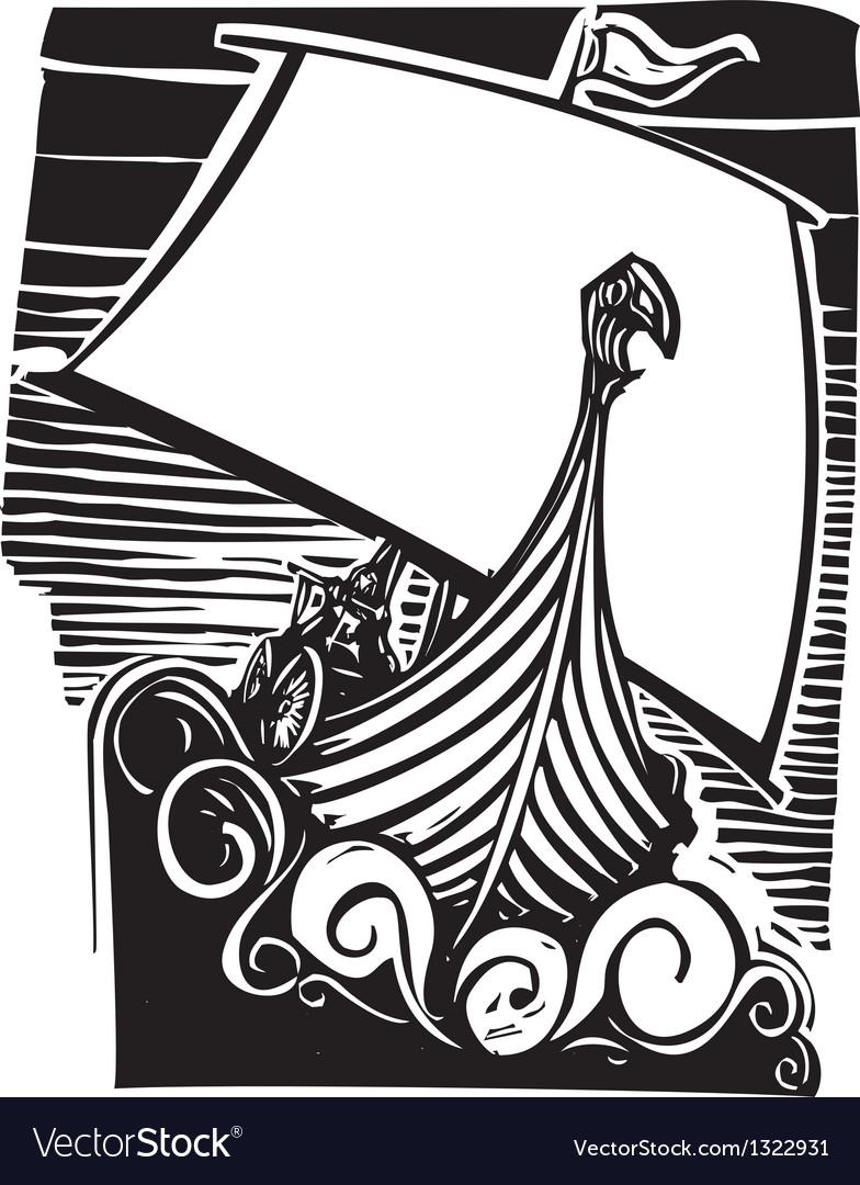 Viking Longship Sailing vector image