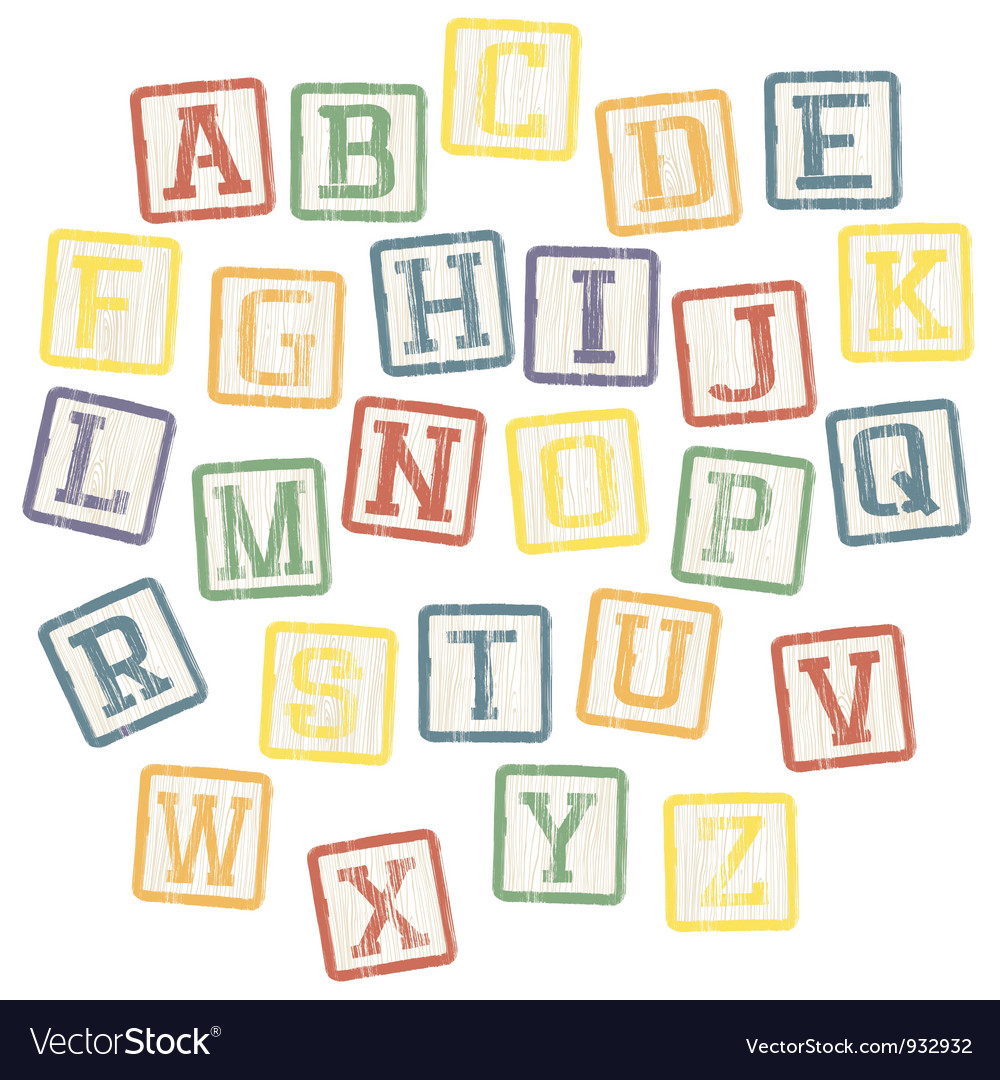 Baby blocks alphabet vector image