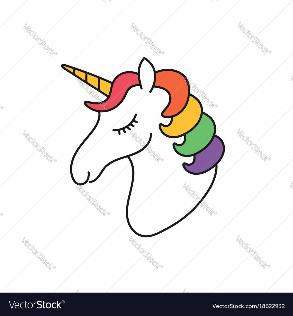 Unicorn head unicorn face with hair in rainbow vector image