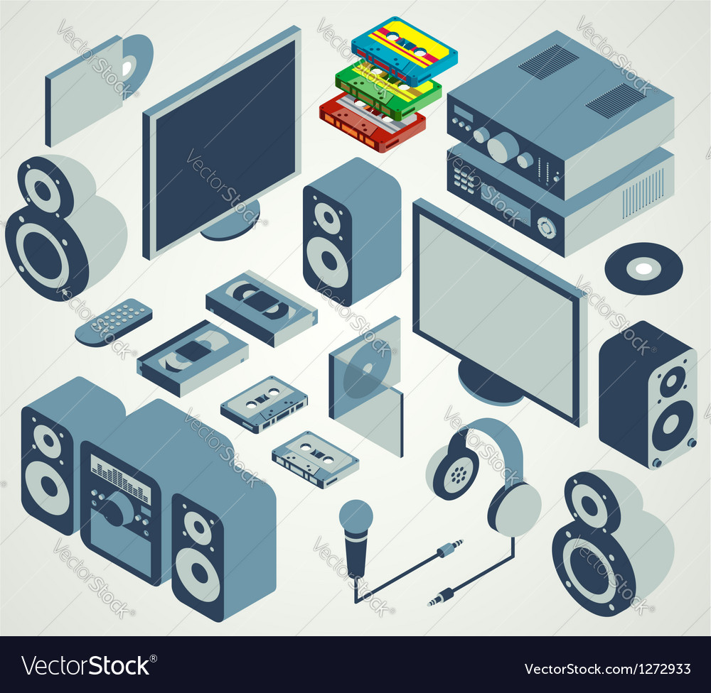 Audio video element set vector image