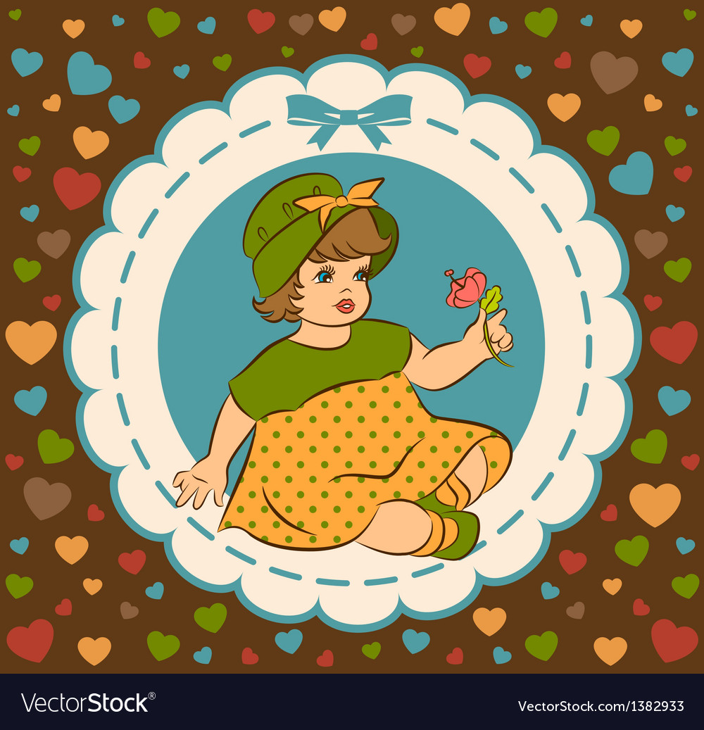 Cute baby girl vector image
