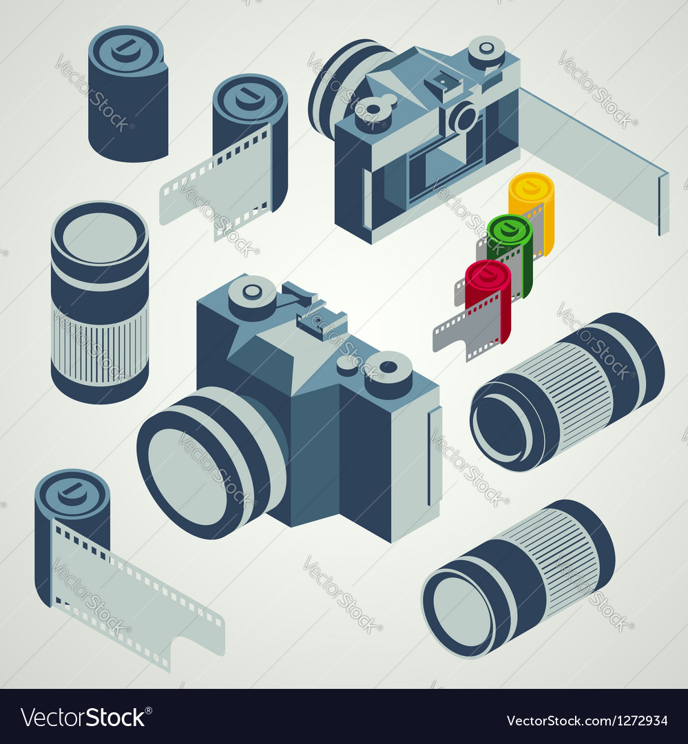 Photo camera lens film element set vector image